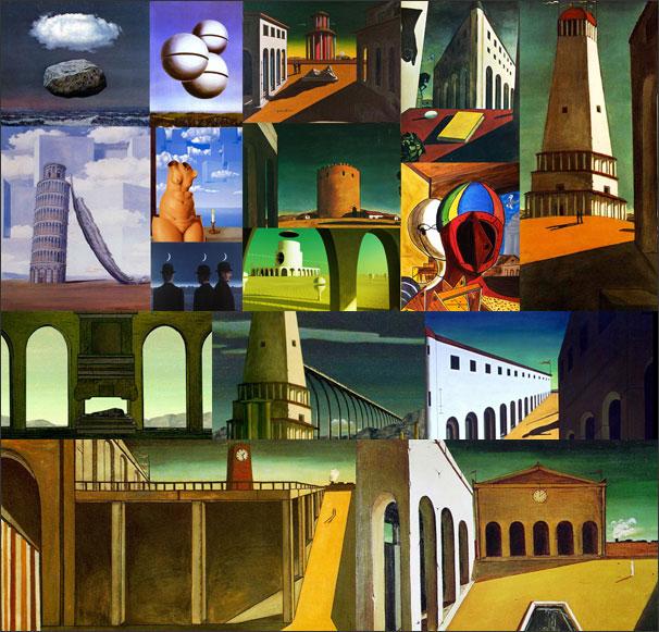 Chirico et Magritte - recherche graphique pour la séquence surréaliste.